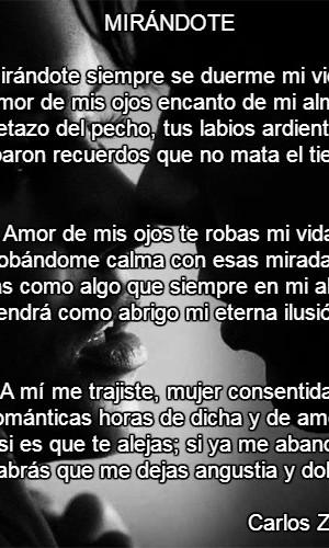 Poema Mirándote Por Carlos Zuluaga Poematrix